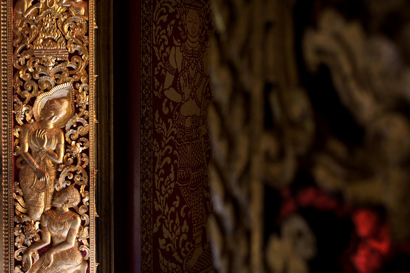 LUANG PRABANG. DETAIL FROM ENTRANCE DOOR OF THE TEMPLE. NATIONAL MUSEUM.