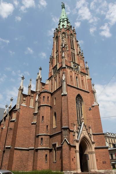 Facade of the Saint Gerthrude Old Church in Riga, Latvia