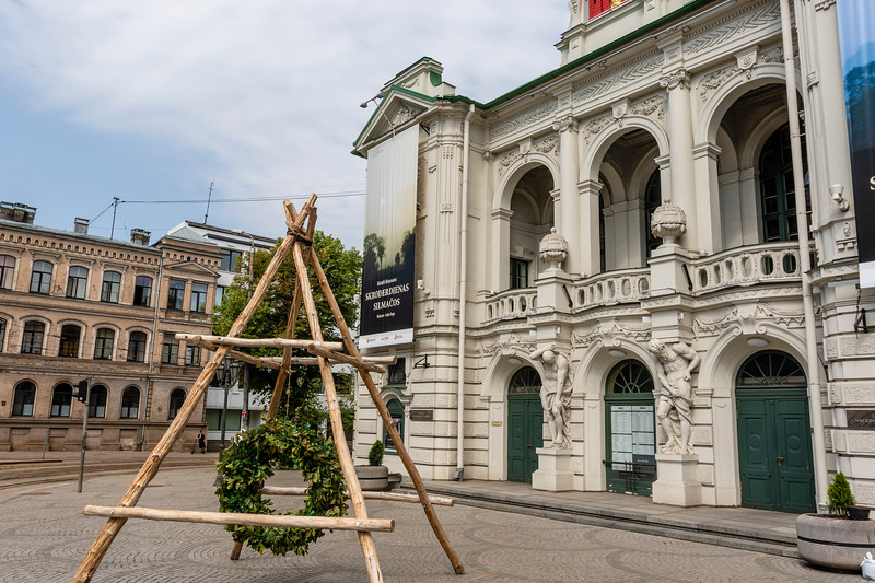 Facade of the Latvian National Theater in Riga, Latvia