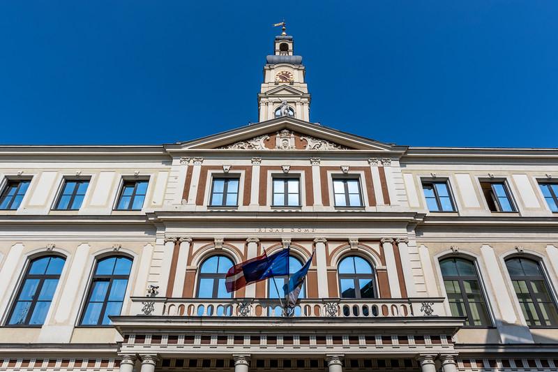 Facade of the Riga Town Hall (Rigas Ratsnams) in Riga, Latvia