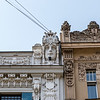 Facade of the art nouveau building by architect Eisenstein in the Elizabetes Street in Riga, Latvia