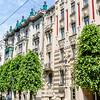 Facade of art nouveau building in the Alberta Street in Riga, Latvia