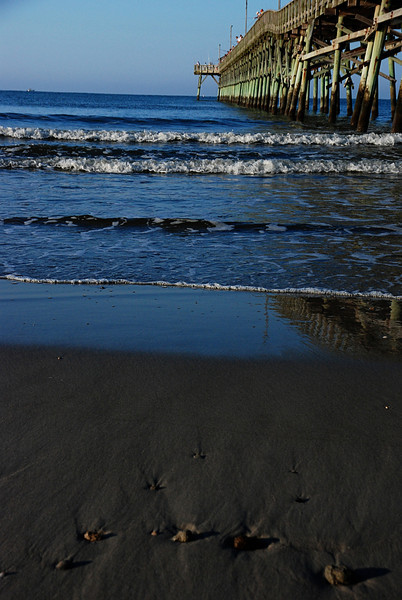 Water Revealing Shells<br /> Oak Island Beach, NC