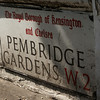 LONDON. STREET SIGN OF PEMBRIDGE GARDENS. GREAT BRITAIN.