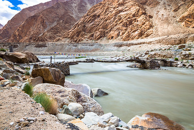Raging Indus and the bridge. Yes Ladakhis use that bridge to cross the river !