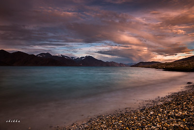 Beautiful sunset at Pangong lake