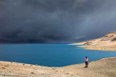 The sunlight briefly illuminated shores of Tso Moriri at an elevation of 15000 feet, one of the highest altitude lakes in the Himalayan range. The storm on the Indo-China border was symbolic of the on going border disputes between India and China at that time