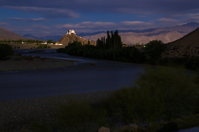 Stakna Monastery and Indus river at night