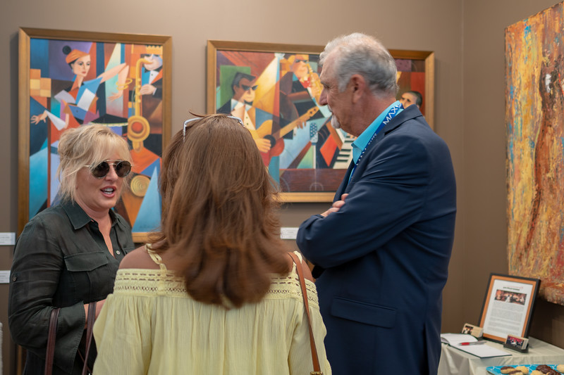 Talking with artists at Art-A-Fair