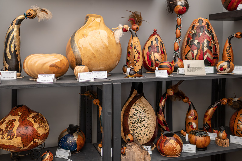 Gourd Art by Darlene Saucedo on display at Art-A-Fair