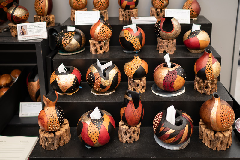 Darlene Saucedo's gourd art at Art-A-Fair