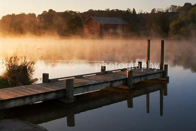 Mist rises off the water at Lake Shenandoah