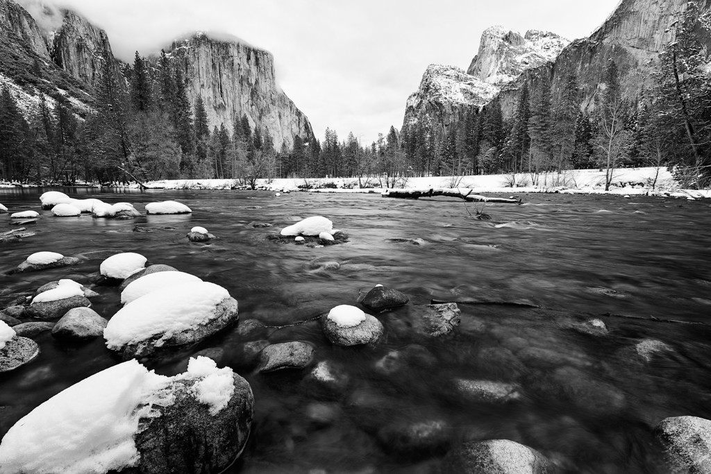 Yosemite's iconic Valley View, fresh with snow from a recent storm.