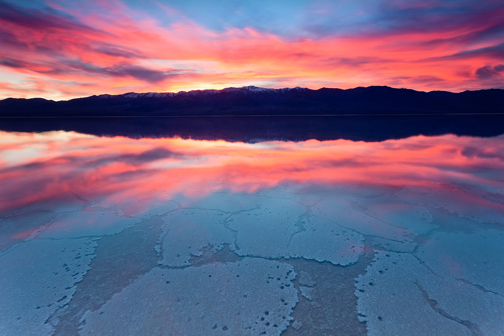 An incredible winter sunset from Death Valley's flooded Badwater.