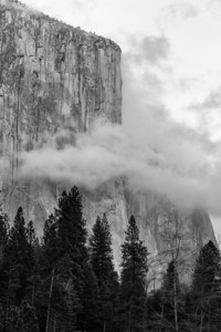 El Cap In The Clouds While shooting sunset at Valley View, the clouds were swirling around El Capitan, creating perfect conditions for some tighter-cropped monochrome images.