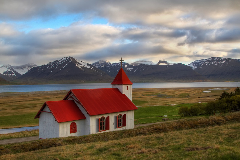 <H3> Church with a view </H3> Found this spot on a random midnight drive in the Westfjords region of Iceland