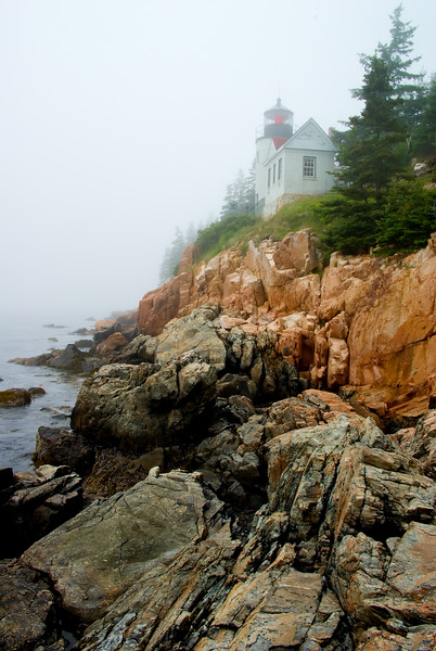 Vertical Bass Harbor Light Fogged in