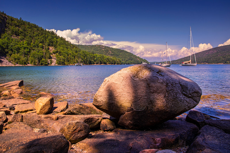 View of Somes Sound Glacial Erratic, Acadia National Park, Maine