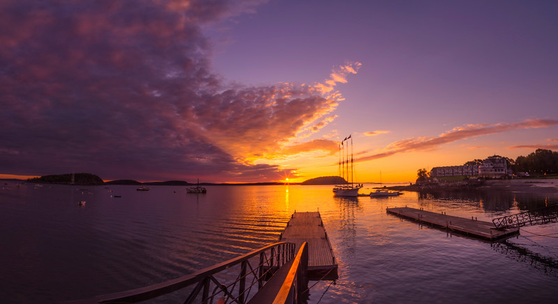 October Sunrise over Bar Harbor Pano 2