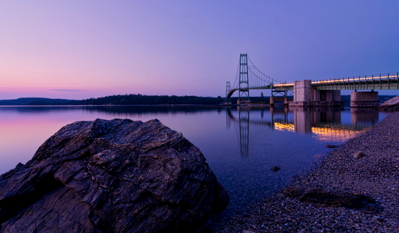 Deer Isle Bridge at Twilight, Deer Isle, Maine