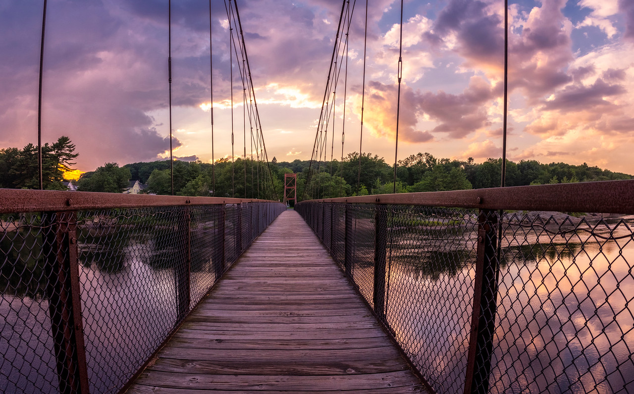 Sunset over Androscoggin Walking Bridge, Brunswick, Maine