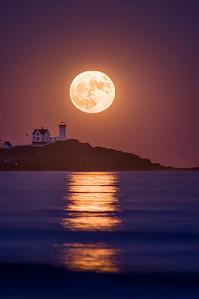 Super Moon, November 2016, Nubble Light, York, Maine