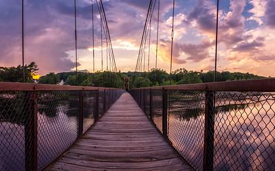 Androscoggin Swinging Bridge Sunset Panorama, Brunswick, Maine