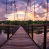 Androscoggin Swinging Bridge Sunset Panorama, Brunswick, Maine