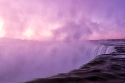 Pre-Dawn view of Horseshoe Falls with water droplets