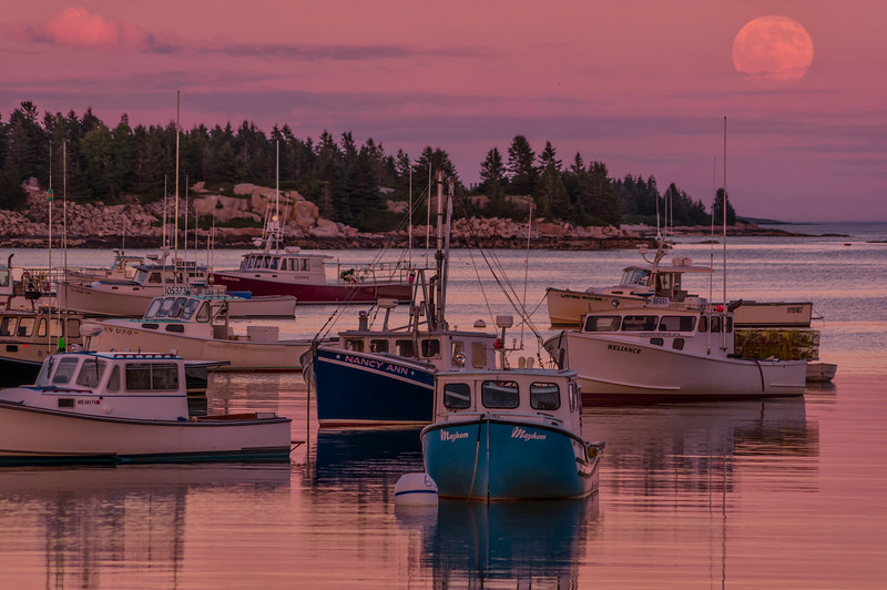 Full Moon over Stonington Harbor 2