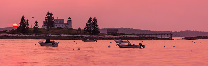 Pumpkin Island Light at sunset, Little Deer Isle, Maine, 15 image pano