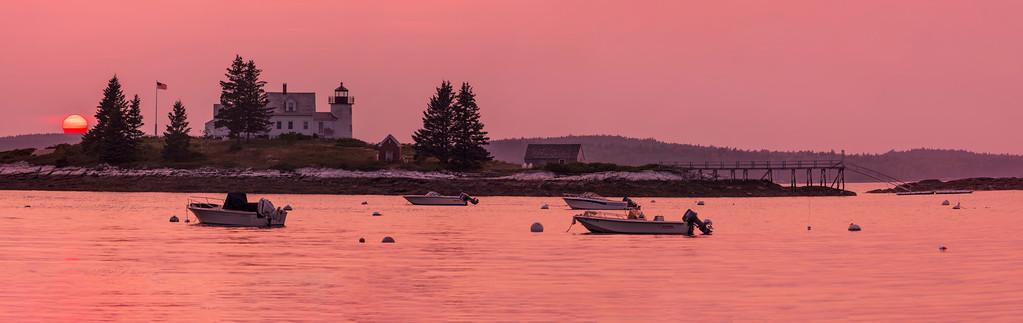 Pumpkin Island Light at sunset, Little Deer Isle, Maine, 15 image pano
