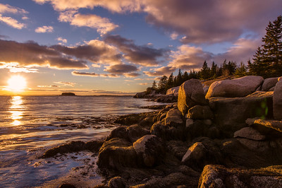 November Sand Beach Sunset, Stonington, Maine