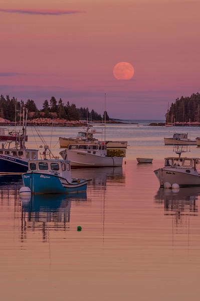 Full Moonrise over Stonington Harbor 2