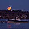 Partially Eclipsed Moonset, Ferry Beach, Scarborough, Maine