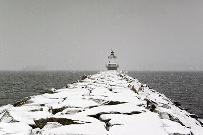 Spring Point Ledge Light in Snow 20x30