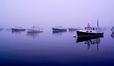 Fogged in Fishing Boats 20x30 or larger