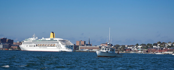 Cruise Ship and Lobster Boat on Casco Bay, Portland, Maine