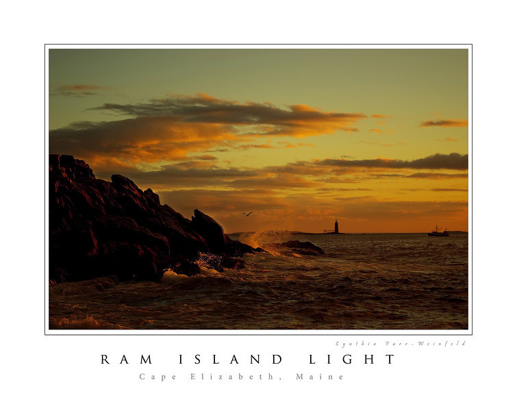 Ram Island Light Poster--Taken after a night of heavy rain at Portland Headlight, the skies were particularly beautiful at dawn.  Stone lighthouse, Ram Island Light, is visible in the distance, along with a fishing trawler.