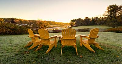 Adirondack Sunrise Panorama, River road, York, Maine