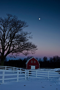 Moonrise over the Red Barn--Taken December 2007 in Pownal, ME just after sunset.