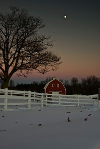 Moonrise over the Red Barn 2--Taken December 2007 in Pownal, ME just after sunset.