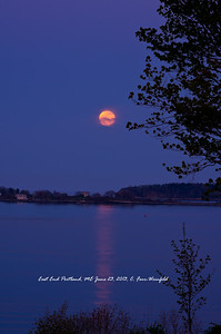 Super Moon or Perigee Moon on June 23, 2013, looking across from Portland's East End across the water 2.