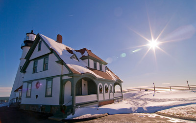 Portland Head Light after a big snowstorm on a sunny day, Cape Elizabeth, Maine.