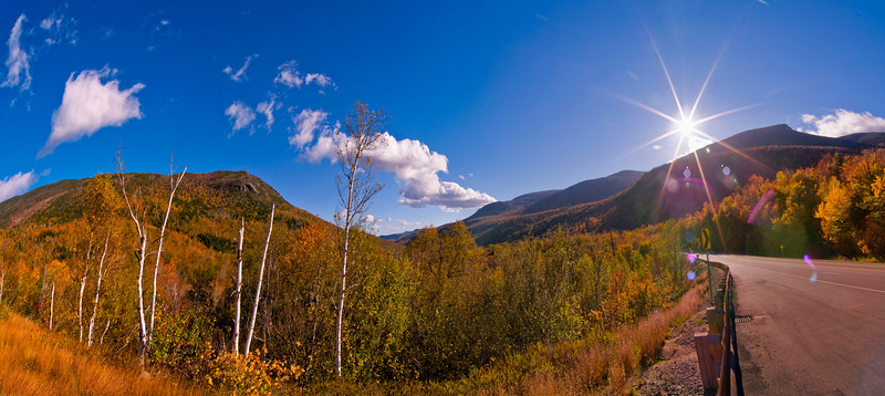 Route 16, New Hampshire in autumn. a Ten image panorama.