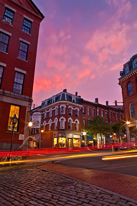 Corner of Moulton and Fore Streets at sunset, Portland, Maine