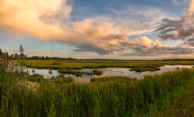 Scarborough Marsh Rainbow Panorama, Scarborough, Maine