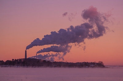 Falmouth's Power Plant on a -7 degree morning with sea mist surrounding it.
