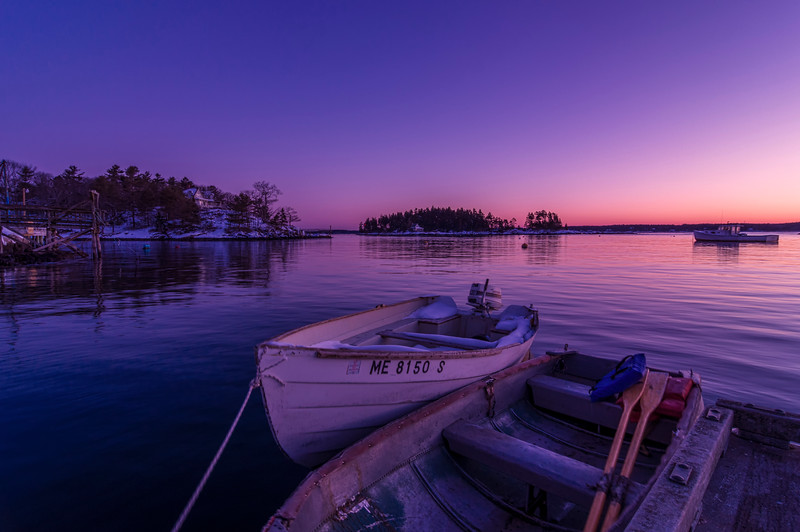 Two Boats Before Dawn, Georgetown, Maine (Five Islands)
