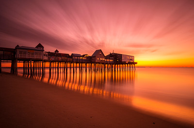 Old Orchard Beach at Dawn in October.  A five minute exposure shot with a 10-stop Neutral Density Filter.